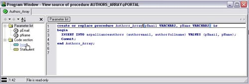 Figure 5 – Authors_Array Stored Procedure